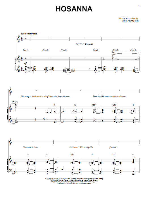 Kirk Franklin Hosanna sheet music preview music notes and score for Piano, Vocal & Guitar (Right-Hand Melody) including 10 page(s)