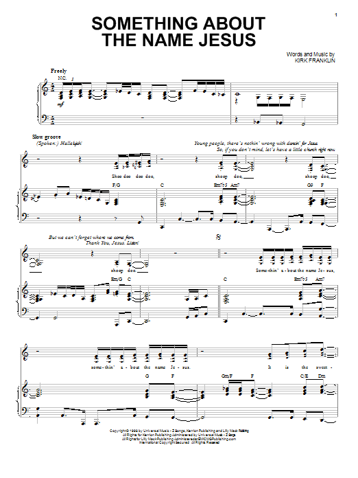 Kirk Franklin Something About The Name Jesus sheet music preview music notes and score for Piano, Vocal & Guitar (Right-Hand Melody) including 7 page(s)
