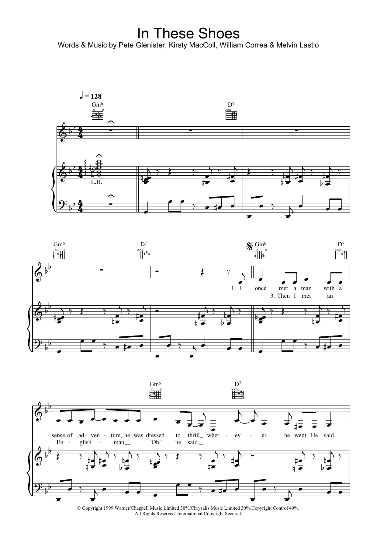 Kirsty MacColl In These Shoes sheet music preview music notes and score for Piano, Vocal & Guitar including 7 page(s)