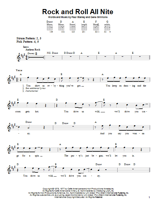 Kiss Rock And Roll All Nite sheet music preview music notes and score for Lyrics & Chords including 3 page(s)