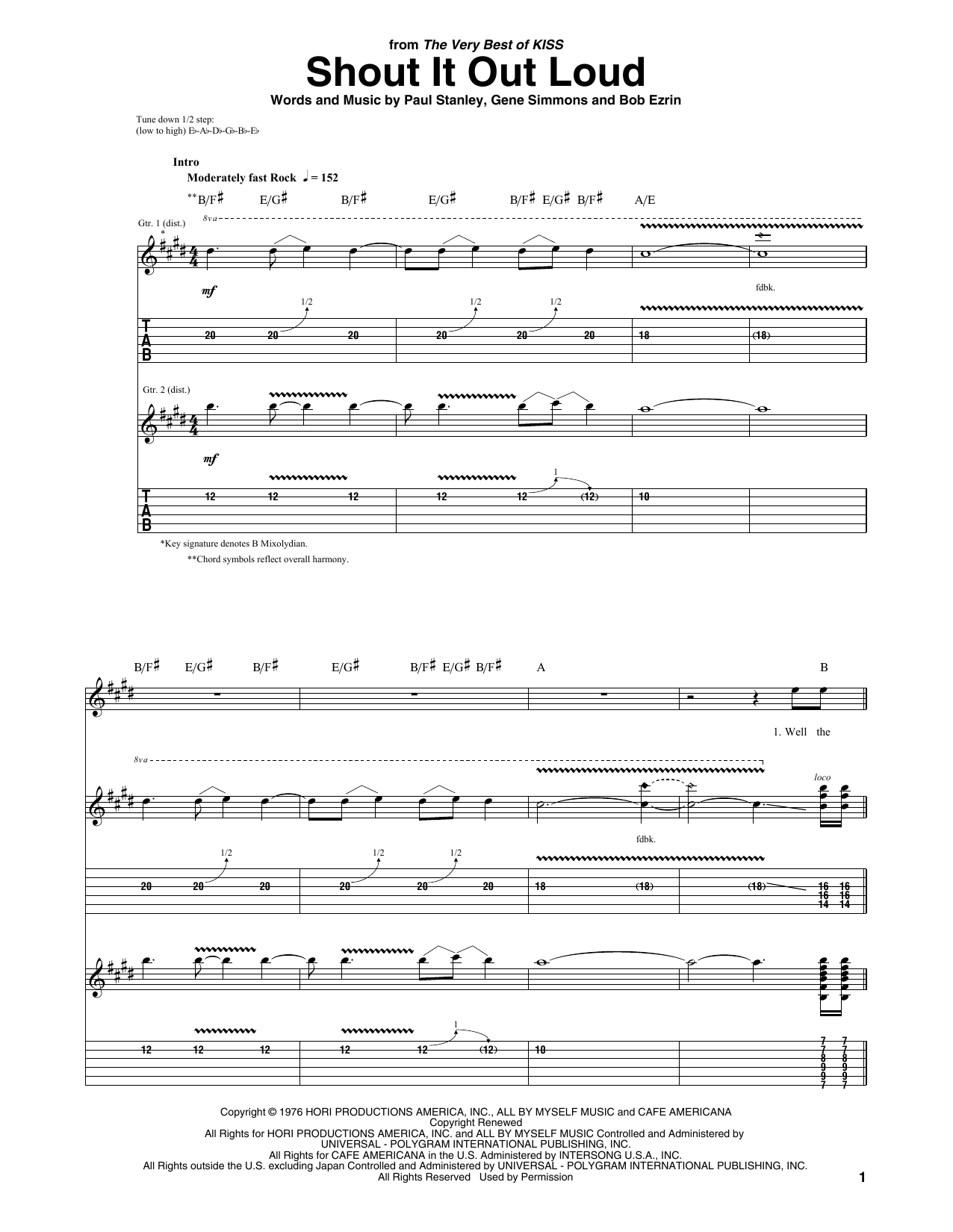 KISS Shout It Out Loud sheet music preview music notes and score for Guitar Tab including 7 page(s)