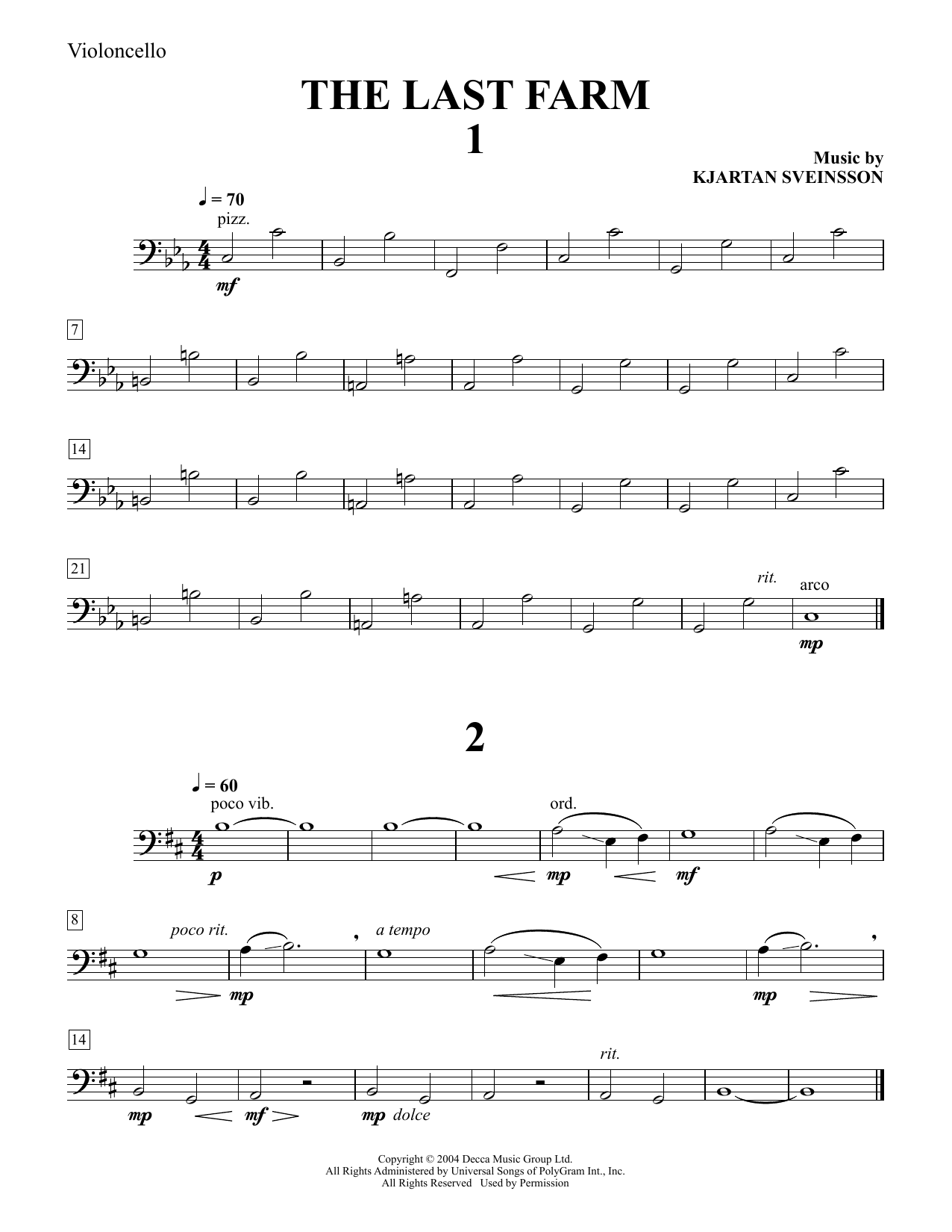Download Kjartan Sveinsson 'Five String Quartets from The Last Farm - Cello' Digital Sheet Music Notes & Chords and start playing in minutes