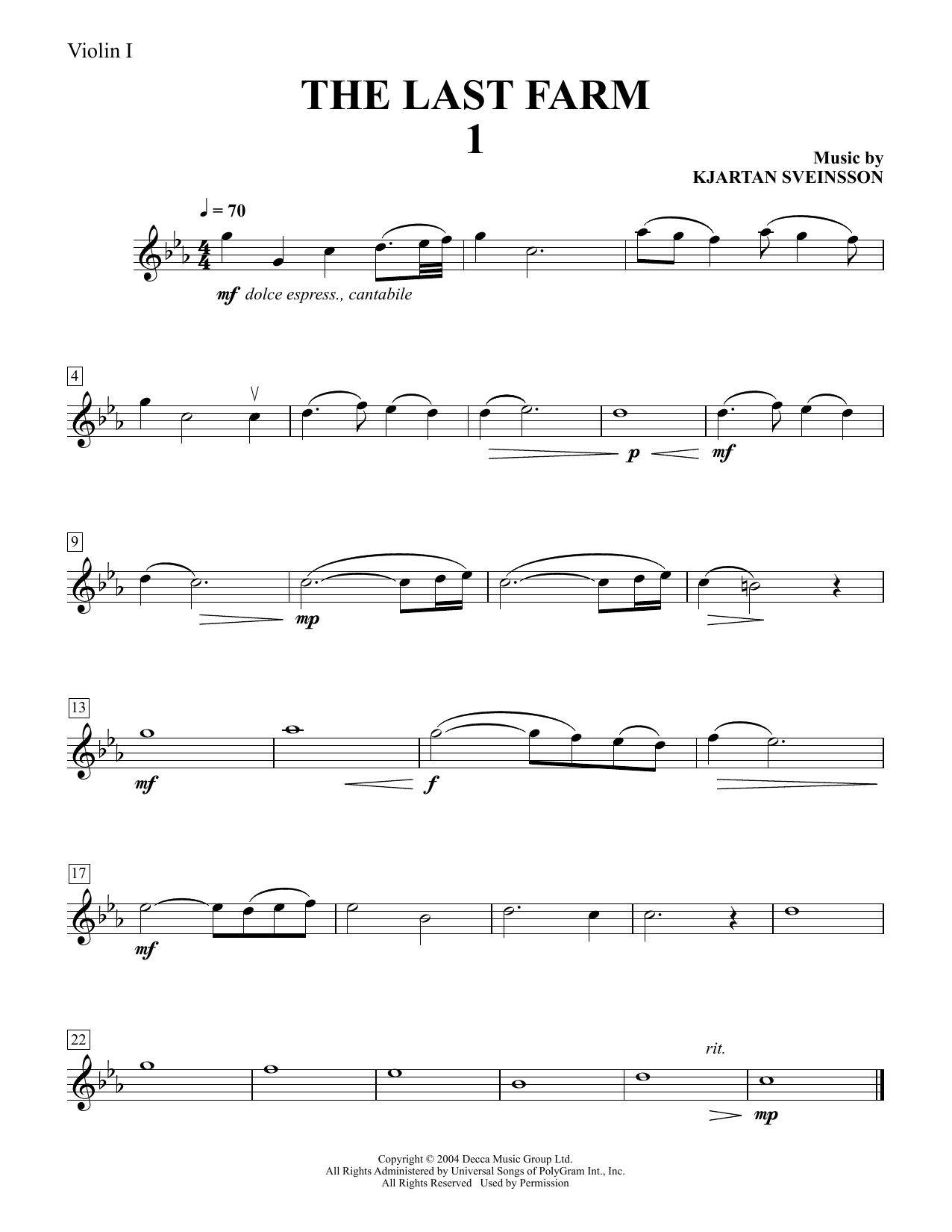Download Kjartan Sveinsson 'Five String Quartets from The Last Farm - Violin 1' Digital Sheet Music Notes & Chords and start playing in minutes