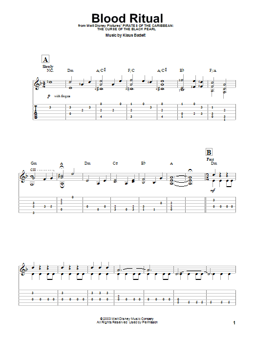 Klaus Badelt Blood Ritual sheet music preview music notes and score for Easy Guitar Tab including 5 page(s)