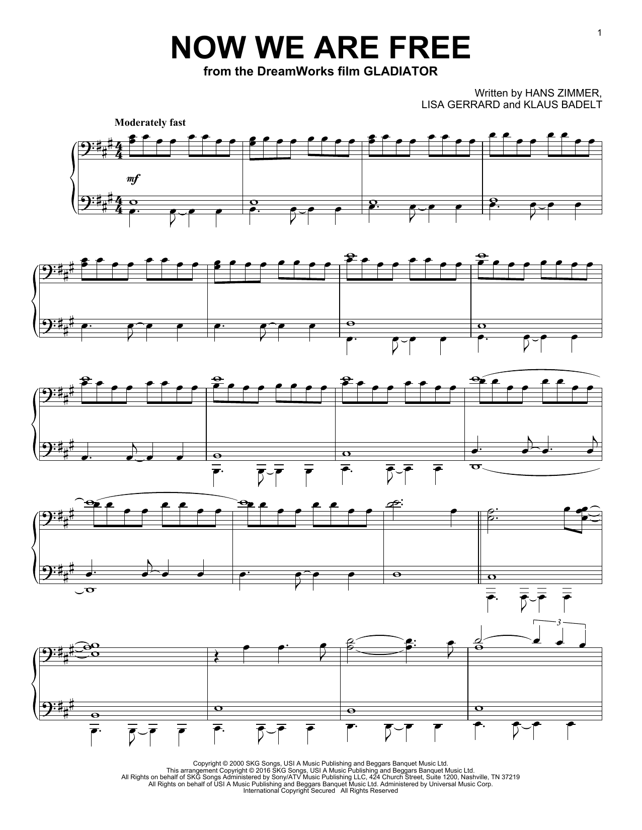 Download Klaus Badelt 'Now We Are Free' Digital Sheet Music Notes & Chords and start playing in minutes