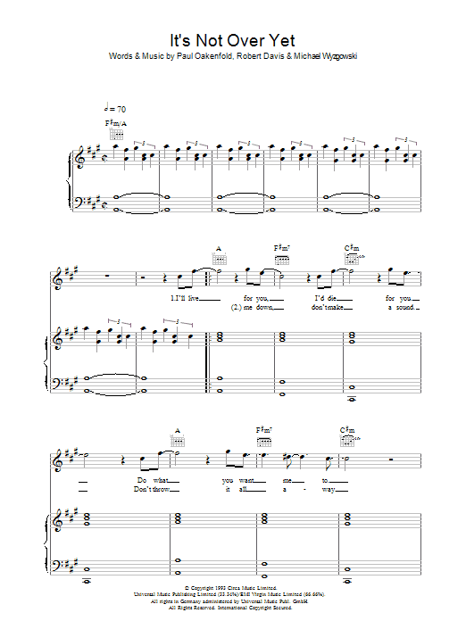 Klaxons It's Not Over Yet sheet music preview music notes and score for Piano, Vocal & Guitar including 6 page(s)