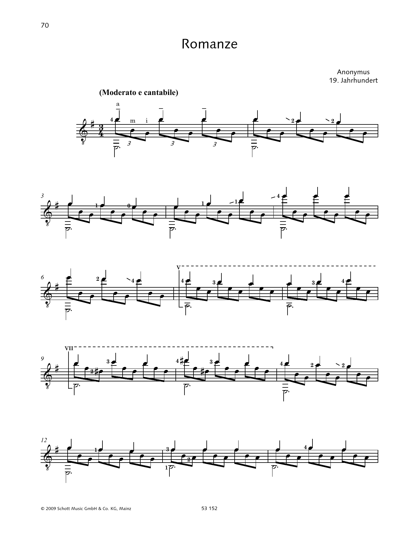 Konrad Ragossnig Romanze sheet music preview music notes and score for Solo Guitar Tab including 2 page(s)