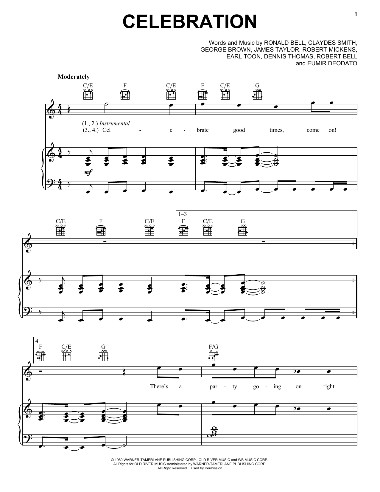 Kool And The Gang Celebration sheet music preview music notes and score for Piano, Vocal & Guitar (Right-Hand Melody) including 4 page(s)