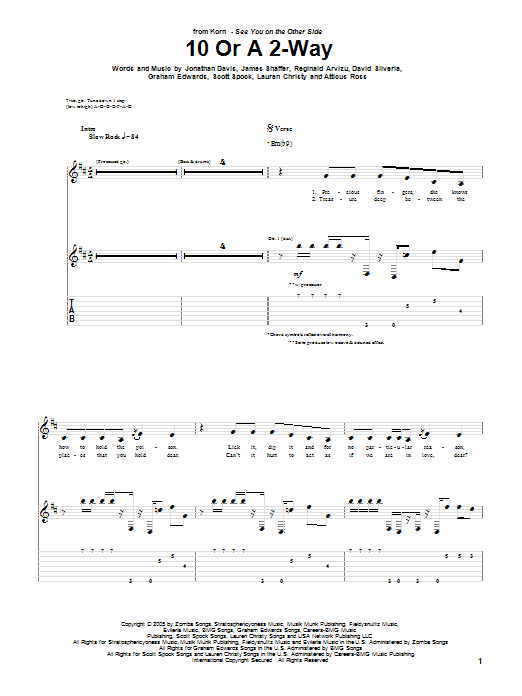 Korn 10 Or A 2-Way sheet music preview music notes and score for Guitar Tab including 7 page(s)