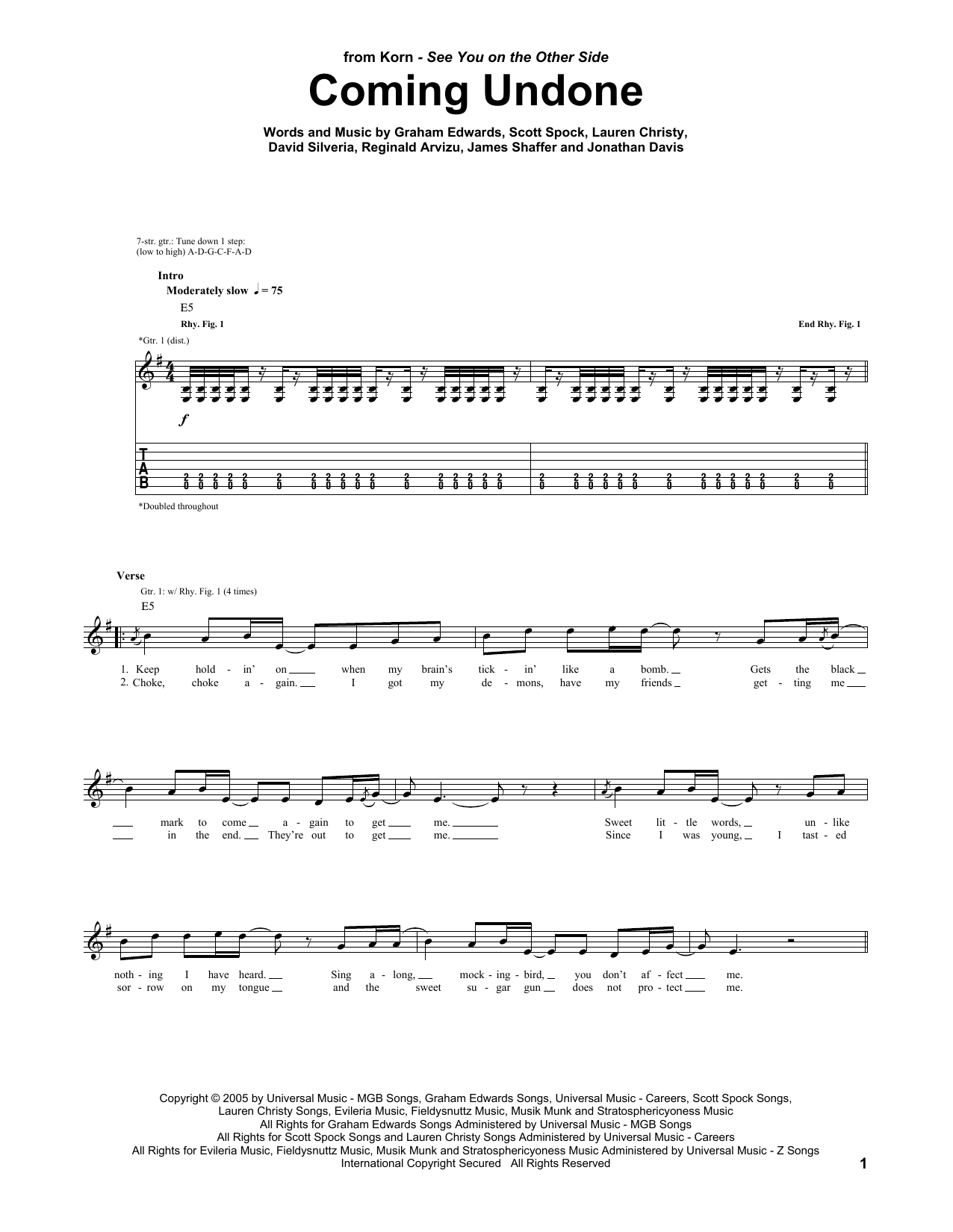 Korn Coming Undone sheet music preview music notes and score for Guitar Tab including 5 page(s)