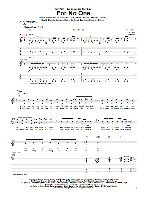 Korn For No One sheet music preview music notes and score for Guitar Tab including 5 page(s)