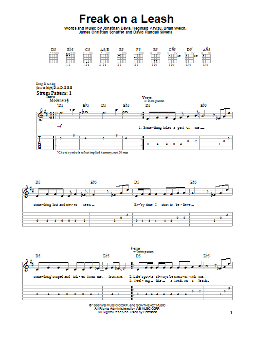 Korn Freak On A Leash sheet music preview music notes and score for Piano, Vocal & Guitar (Right-Hand Melody) including 6 page(s)