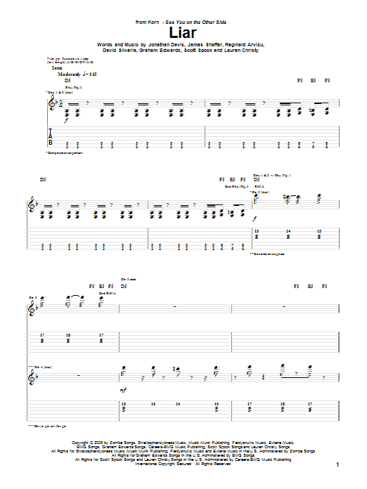 Korn Liar sheet music preview music notes and score for Guitar Tab including 7 page(s)
