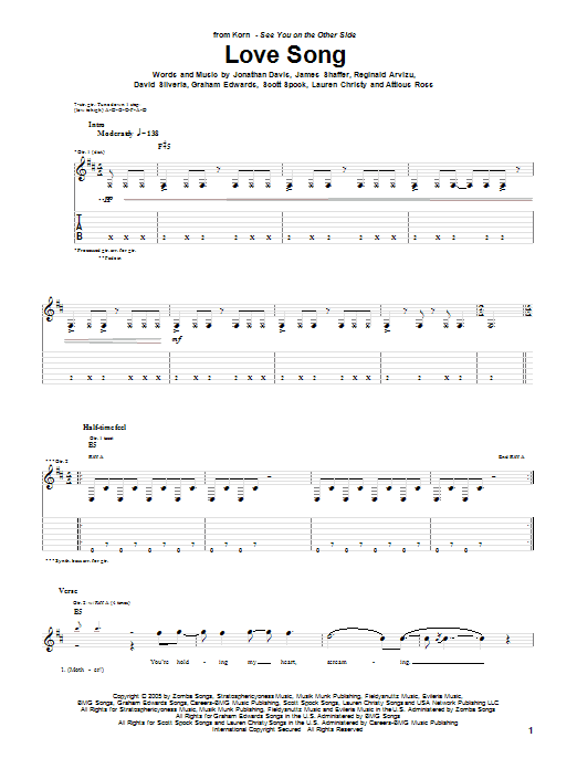Korn Love Song sheet music preview music notes and score for Guitar Tab including 7 page(s)