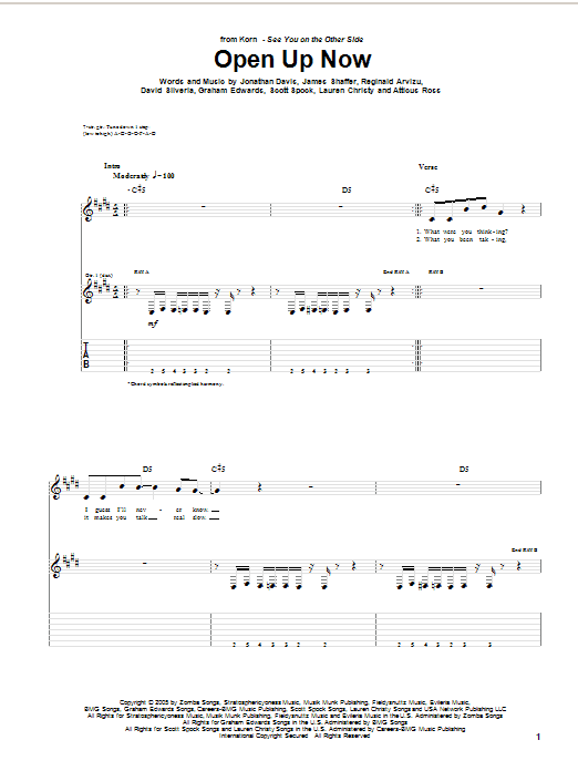 Korn Open Up Now sheet music preview music notes and score for Guitar Tab including 10 page(s)