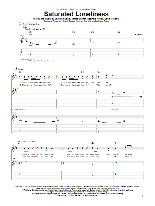 Korn Saturated Loneliness sheet music preview music notes and score for Guitar Tab including 7 page(s)