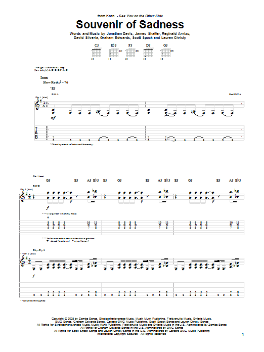 Korn Souvenir Of Sadness sheet music preview music notes and score for Guitar Tab including 5 page(s)