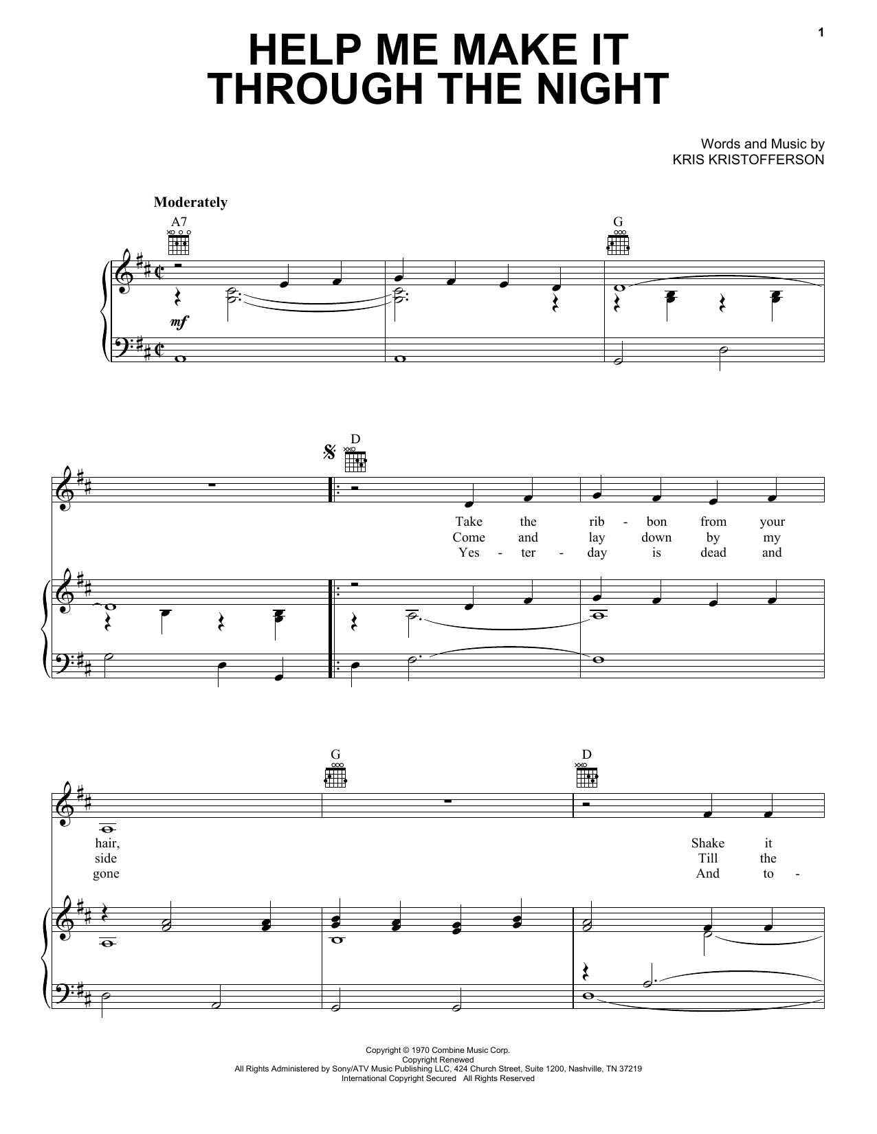 Download Kris Kristofferson 'Help Me Make It Through The Night' Digital Sheet Music Notes & Chords and start playing in minutes