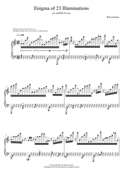 Download Kris Lennox 'Enigma of 23 Illuminations' Digital Sheet Music Notes & Chords and start playing in minutes