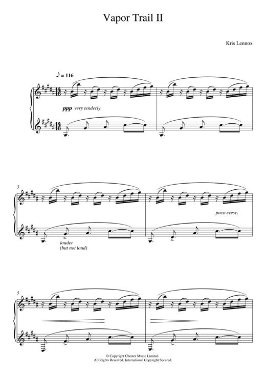 Download Kris Lennox 'Vapor Trail II' Digital Sheet Music Notes & Chords and start playing in minutes