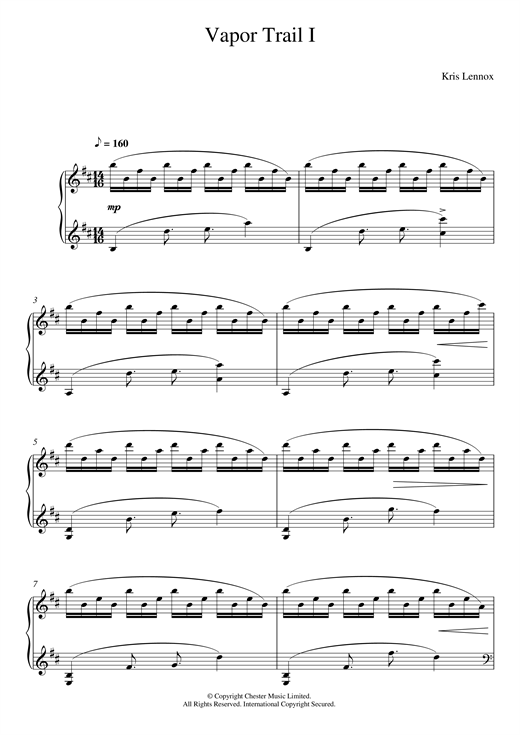 Download Kris Lennox 'Vapor Trails I' Digital Sheet Music Notes & Chords and start playing in minutes