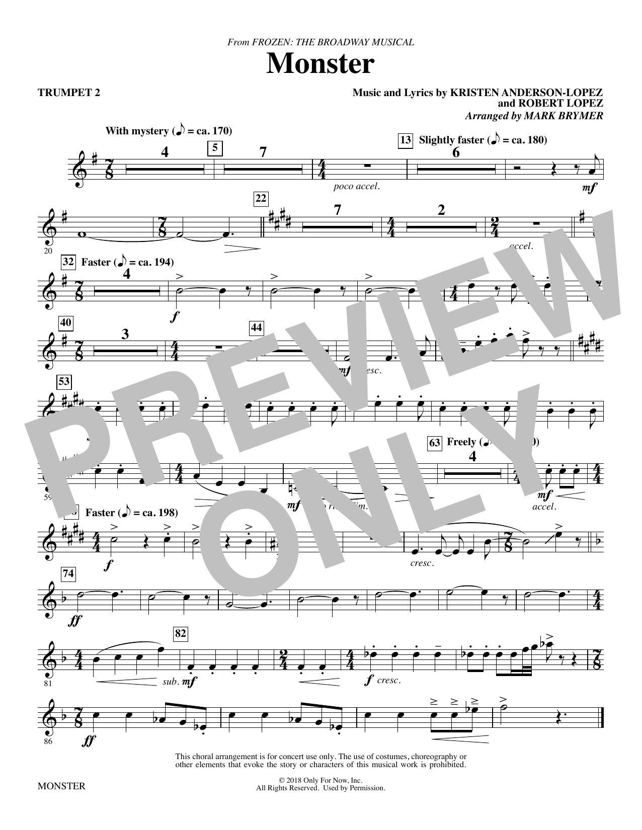 Kristen Anderson-Lopez & Robert Lopez Monster (from Frozen The Broadway Musical) (arr. Mark Brymer) - Trumpet 2 sheet music preview music notes and score for Choir Instrumental Pak including 1 page(s)