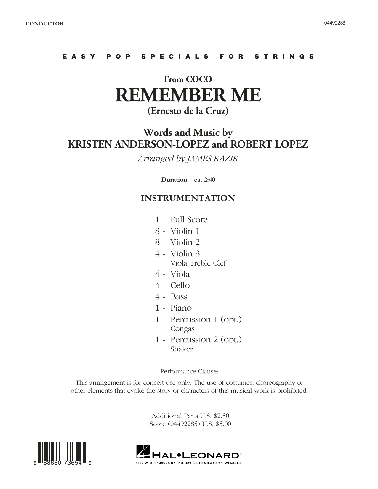 Kristen Anderson-Lopez & Robert Lopez Remember Me (from Coco) (arr. James Kazik) - Conductor Score (Full Score) sheet music preview music notes and score for Orchestra including 6 page(s)
