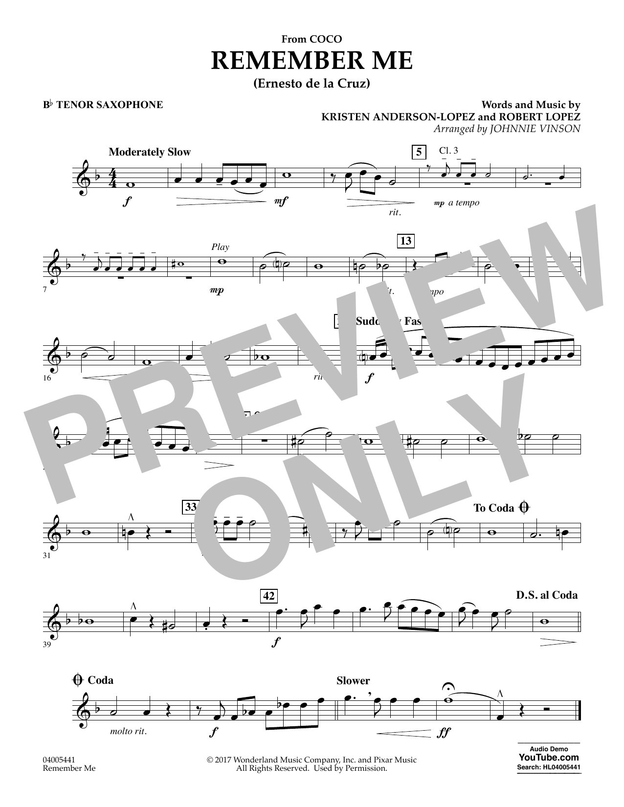 Kristen Anderson-Lopez & Robert Lopez Remember Me (from Coco) (arr. Johnnie Vinson) - Bb Tenor Saxophone sheet music preview music notes and score for Concert Band including 1 page(s)
