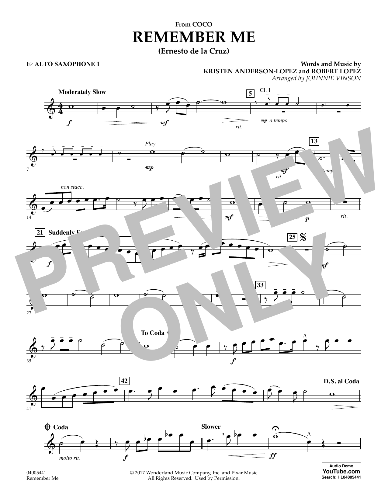 Kristen Anderson-Lopez & Robert Lopez Remember Me (from Coco) (arr. Johnnie Vinson) - Eb Alto Saxophone 1 sheet music preview music notes and score for Concert Band including 1 page(s)