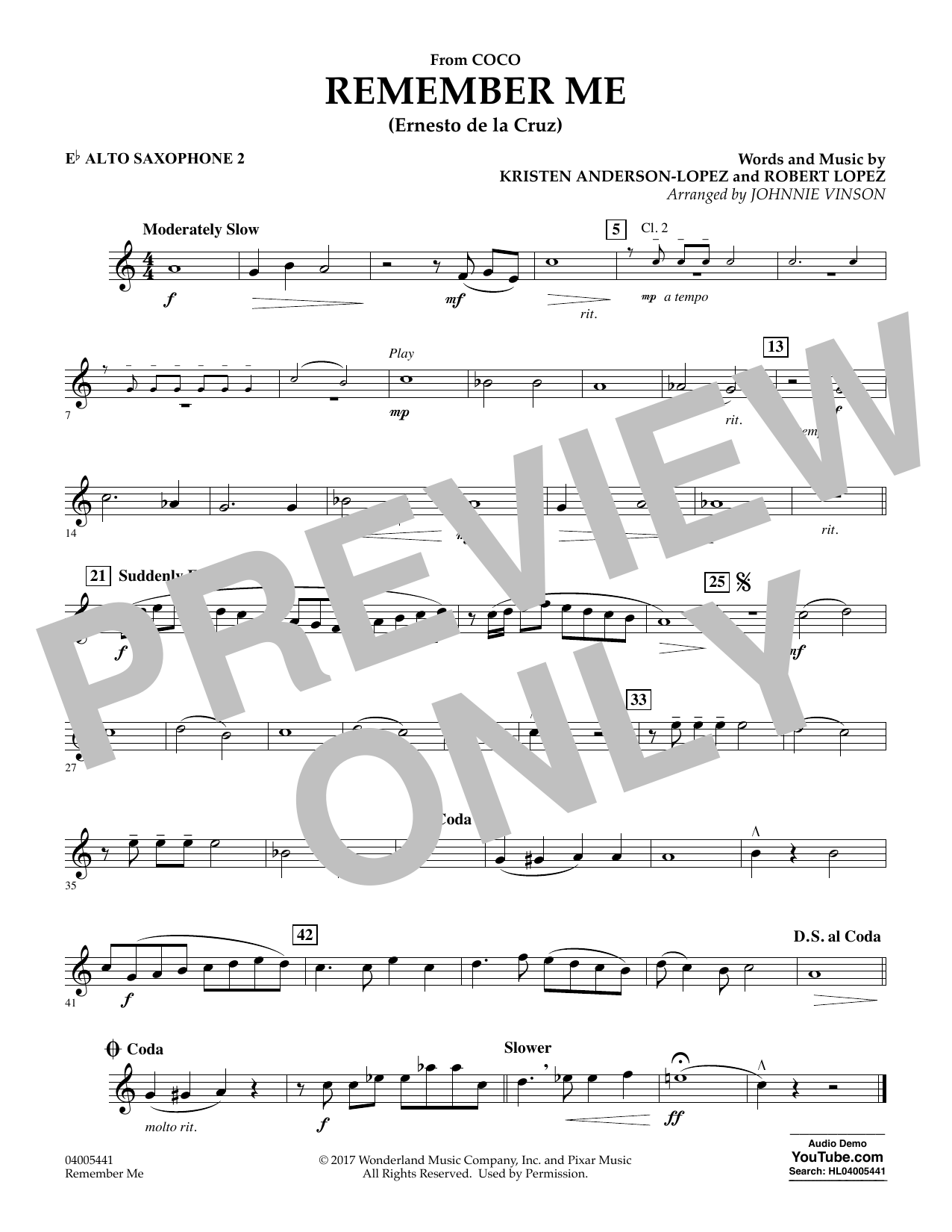 Kristen Anderson-Lopez & Robert Lopez Remember Me (from Coco) (arr. Johnnie Vinson) - Eb Alto Saxophone 2 sheet music preview music notes and score for Concert Band including 1 page(s)