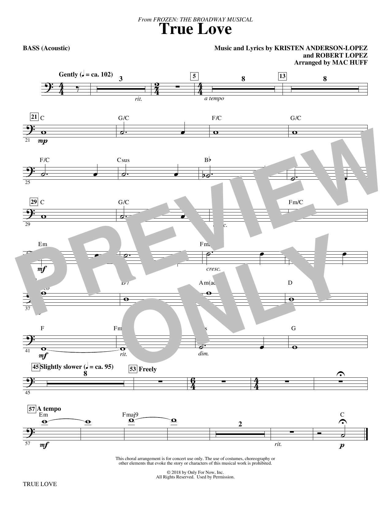Kristen Anderson-Lopez & Robert Lopez True Love (from Frozen: the Broadway Musical) (Arr. Mac Huff) - Bass sheet music preview music notes and score for Choir Instrumental Pak including 1 page(s)
