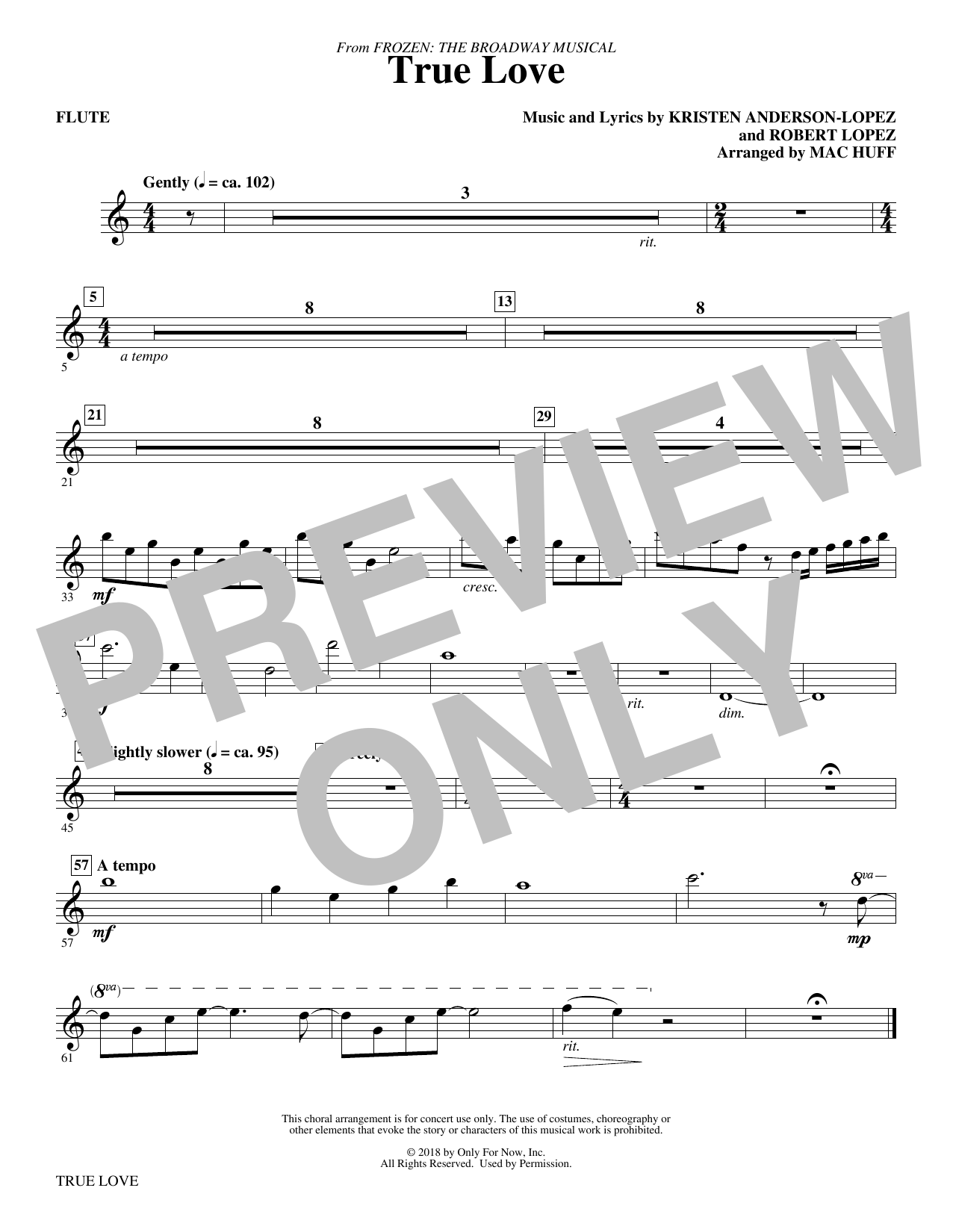 Kristen Anderson-Lopez & Robert Lopez True Love (from Frozen: the Broadway Musical) (Arr. Mac Huff) - Flute sheet music preview music notes and score for Choir Instrumental Pak including 1 page(s)