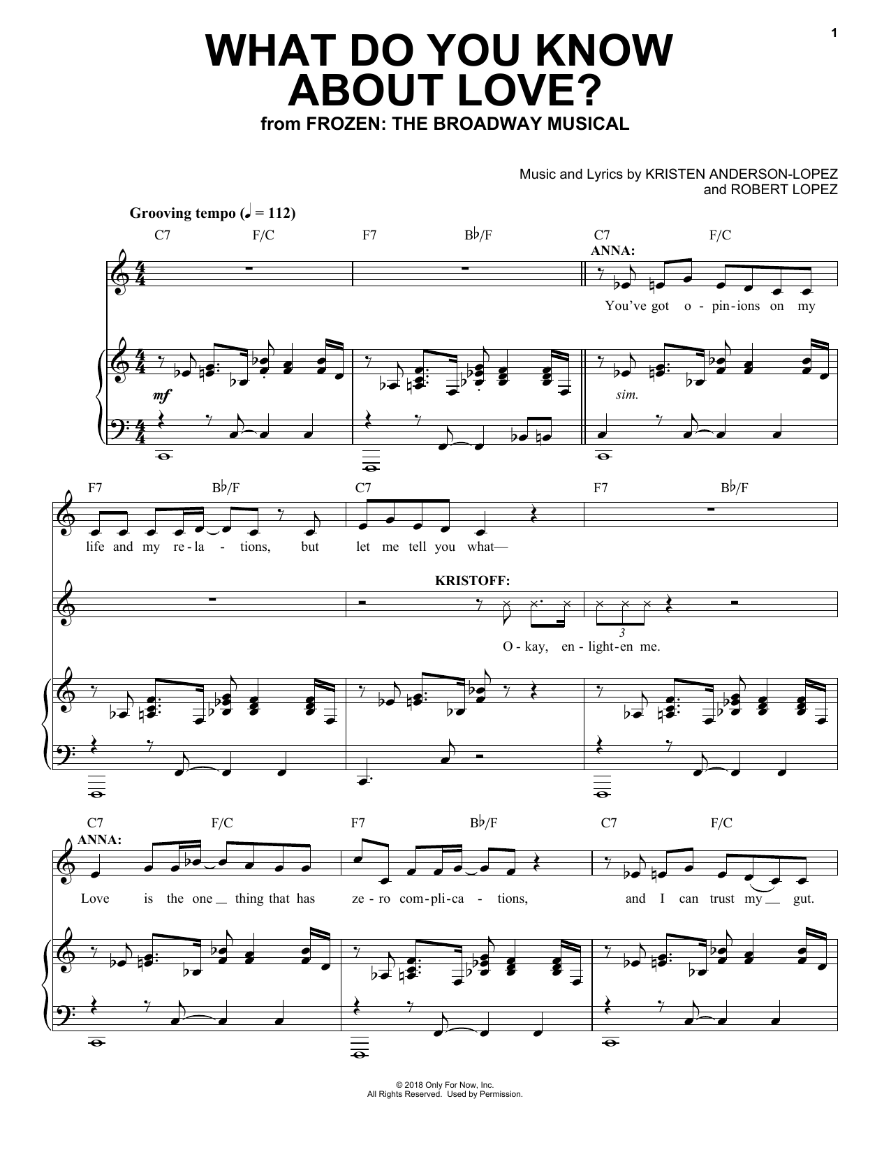 Kristen Anderson-Lopez & Robert Lopez What Do You Know About Love? (from Frozen: the Broadway Musical) sheet music preview music notes and score for Piano, Vocal & Guitar (Right-Hand Melody) including 11 page(s)