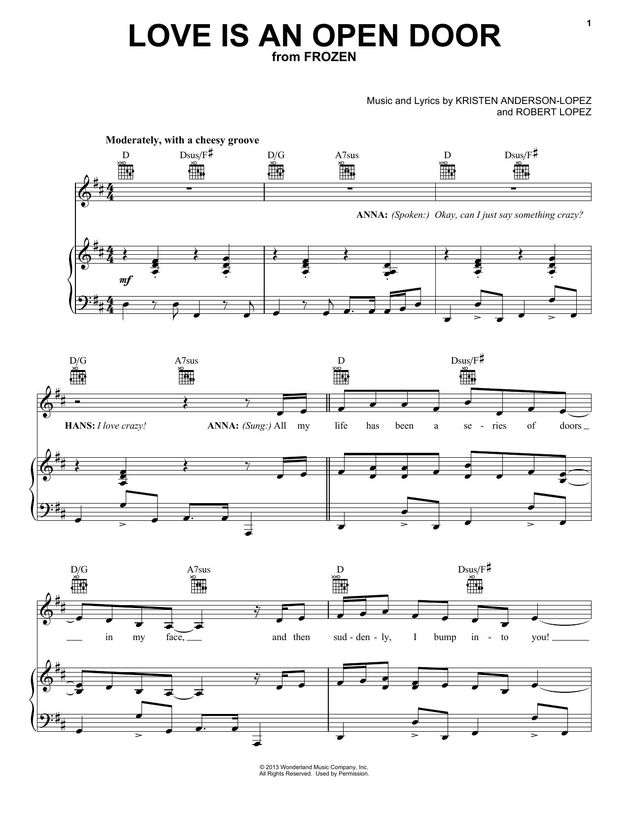 Download Robert Lopez 'Love Is An Open Door' Digital Sheet Music Notes & Chords and start playing in minutes