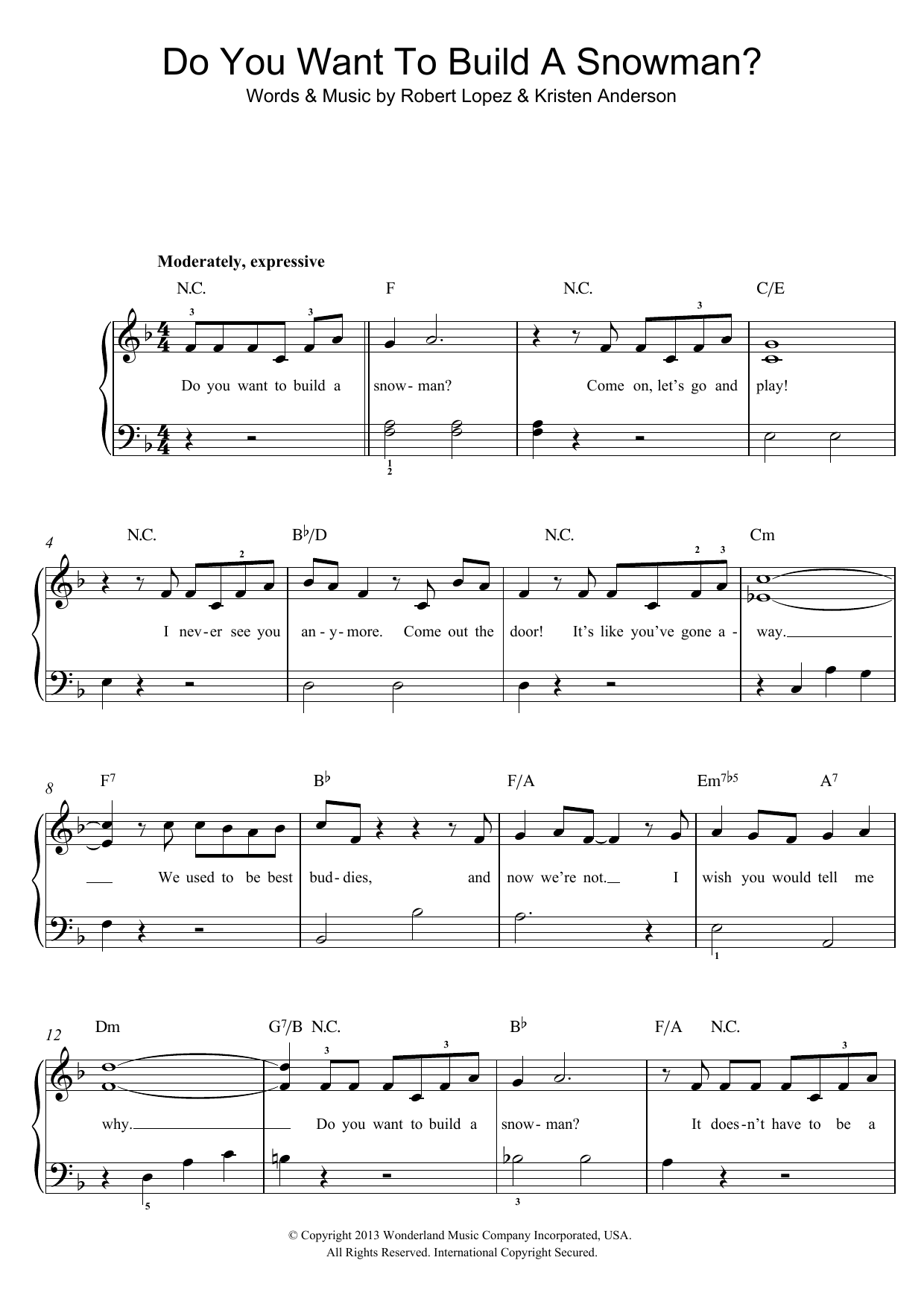 Kristen Bell, Agatha Lee Monn & Katie Lopez Do You Want To Build A Snowman? (from Disney's Frozen) sheet music preview music notes and score for Piano Duet including 6 page(s)