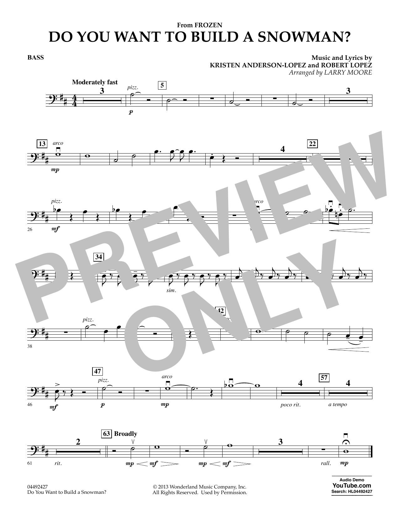 Kristen Bell, Agatha Lee Monn & Katie Lopez Do You Want To Build A Snowman (from Frozen) (arr. Larry Moore) - Bass sheet music preview music notes and score for Orchestra including 1 page(s)