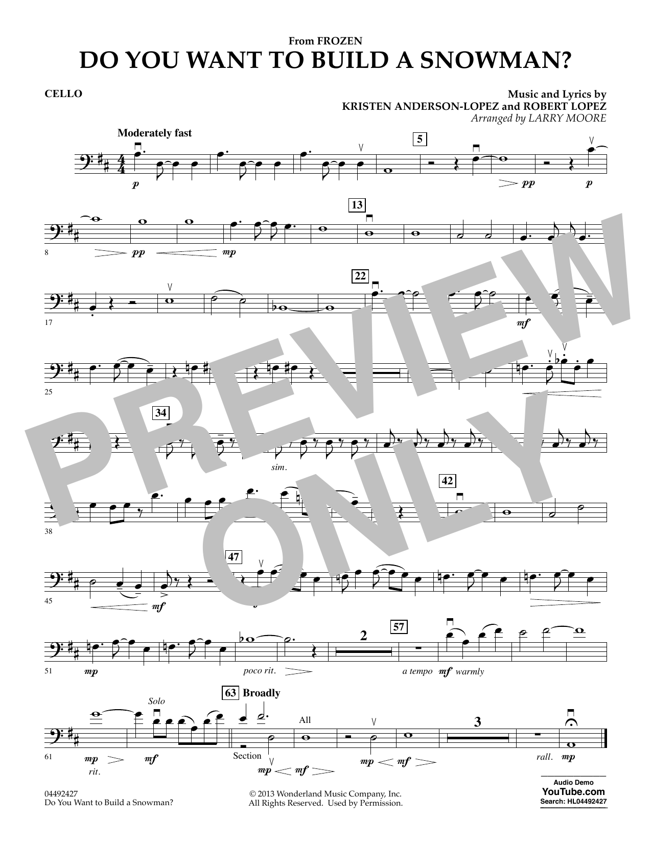 Kristen Bell, Agatha Lee Monn & Katie Lopez Do You Want To Build A Snowman (from Frozen) (arr. Larry Moore) - Cello sheet music preview music notes and score for Orchestra including 1 page(s)