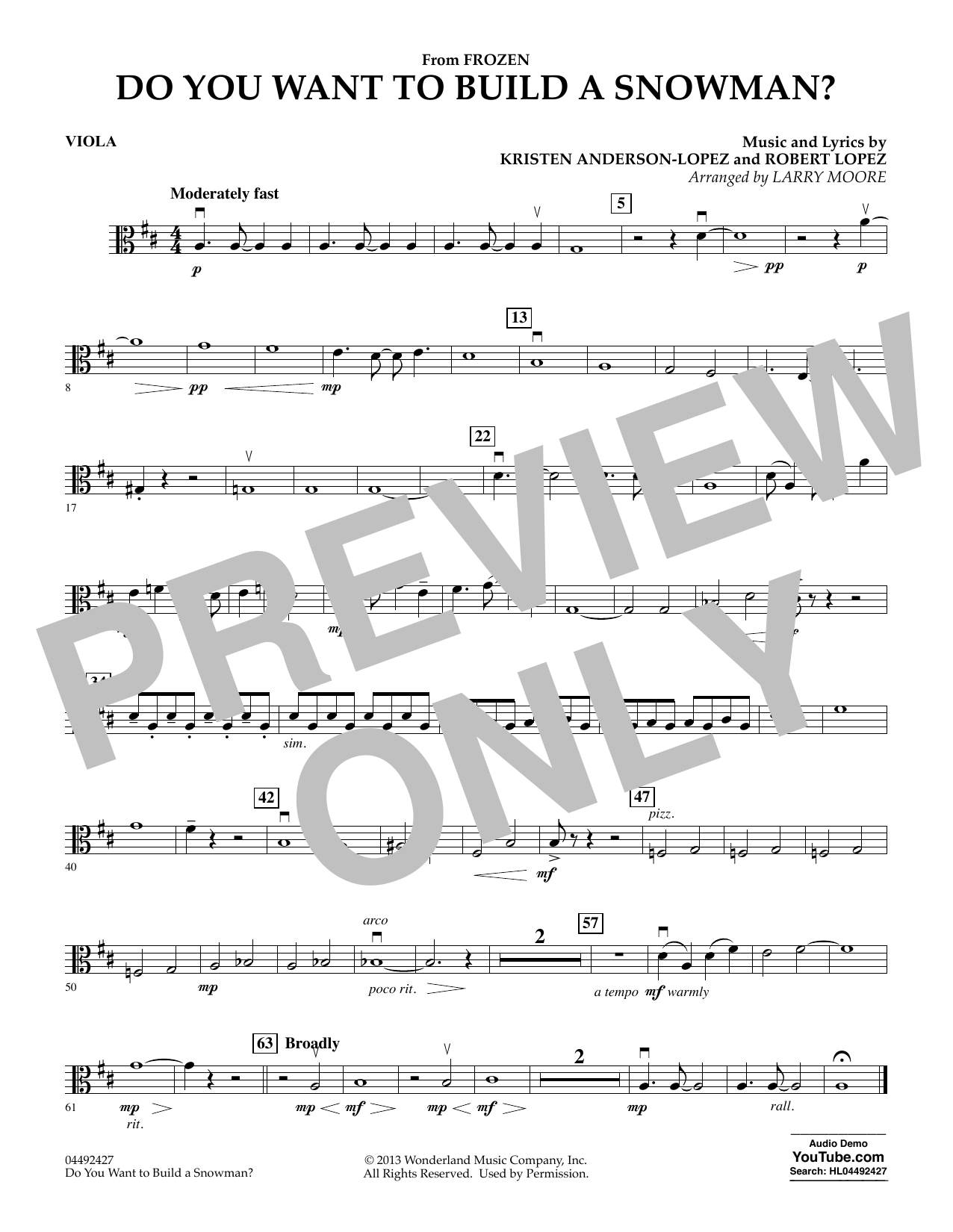 Kristen Bell, Agatha Lee Monn & Katie Lopez Do You Want To Build A Snowman (from Frozen) (arr. Larry Moore) - Viola sheet music preview music notes and score for Orchestra including 1 page(s)