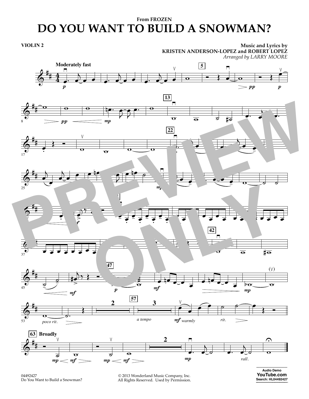 Kristen Bell, Agatha Lee Monn & Katie Lopez Do You Want To Build A Snowman (from Frozen) (arr. Larry Moore) - Violin 2 sheet music preview music notes and score for Orchestra including 1 page(s)