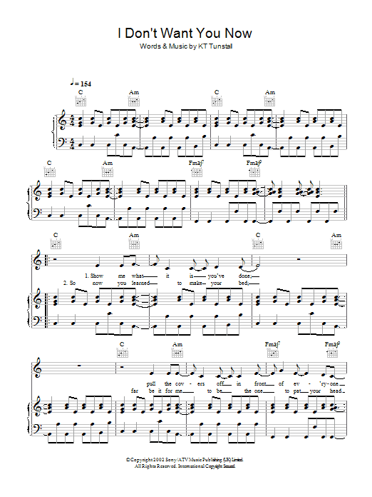 KT Tunstall I Don't Want You Now sheet music preview music notes and score for Piano, Vocal & Guitar including 5 page(s)