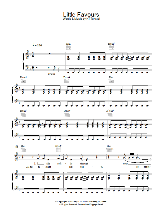 KT Tunstall Little Favours sheet music preview music notes and score for Piano, Vocal & Guitar including 6 page(s)