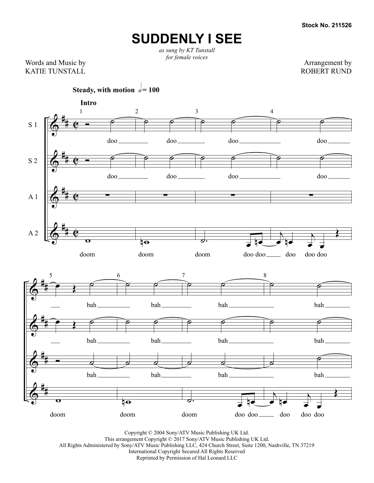 KT Tunstall Suddenly I See (arr. Robert Rund) sheet music preview music notes and score for SSAA Choir including 16 page(s)
