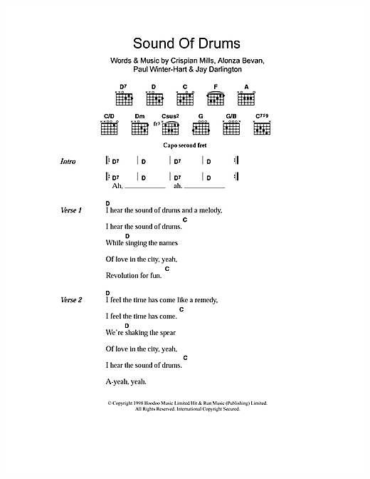 Kula Shaker Sound Of Drums sheet music notes and chords