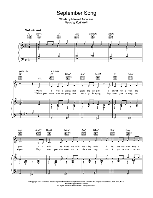 Download Kurt Weill 'September Song' Digital Sheet Music Notes & Chords and start playing in minutes