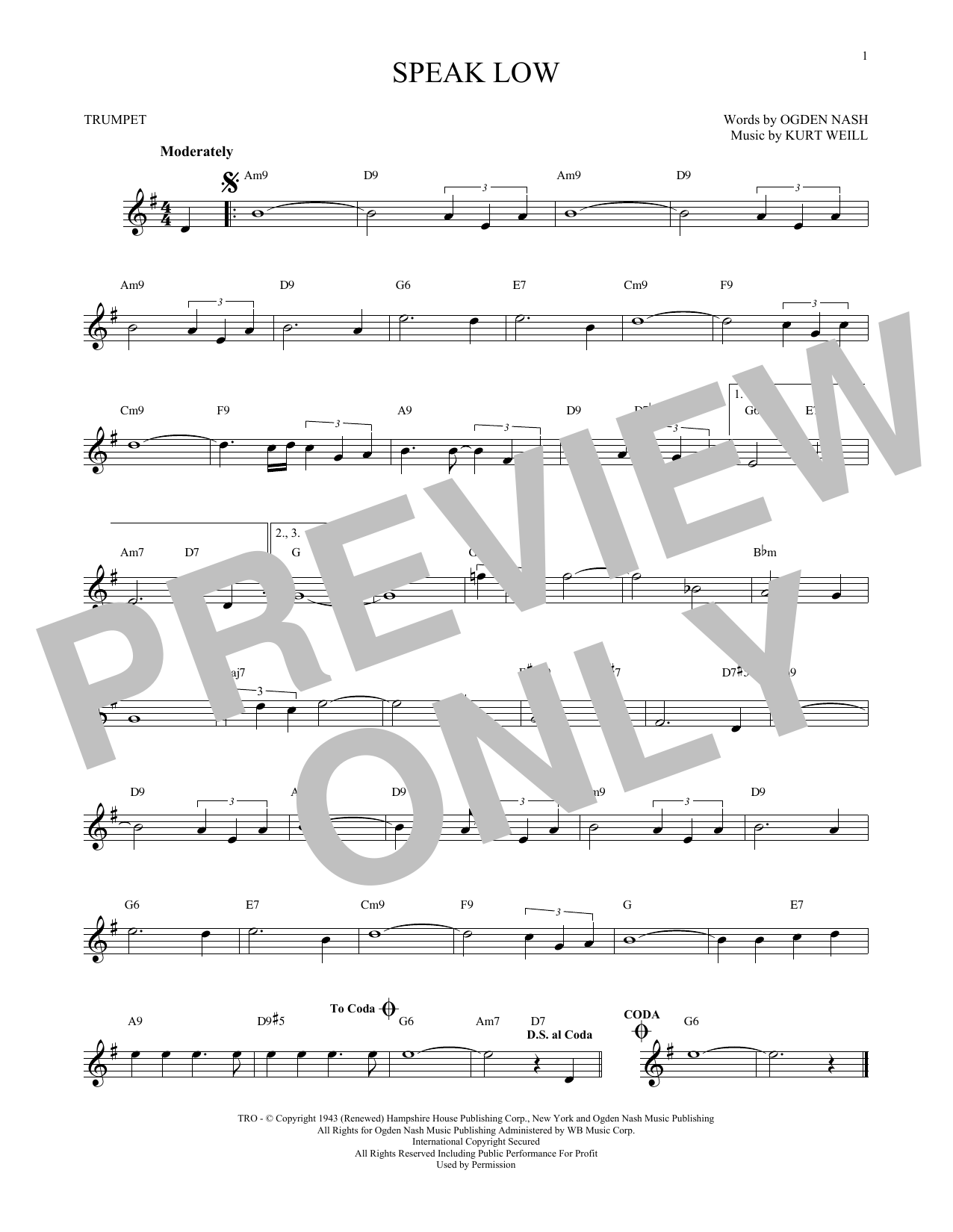 Kurt Weill Speak Low sheet music preview music notes and score for Piano, Vocal & Guitar (Right-Hand Melody) including 5 page(s)