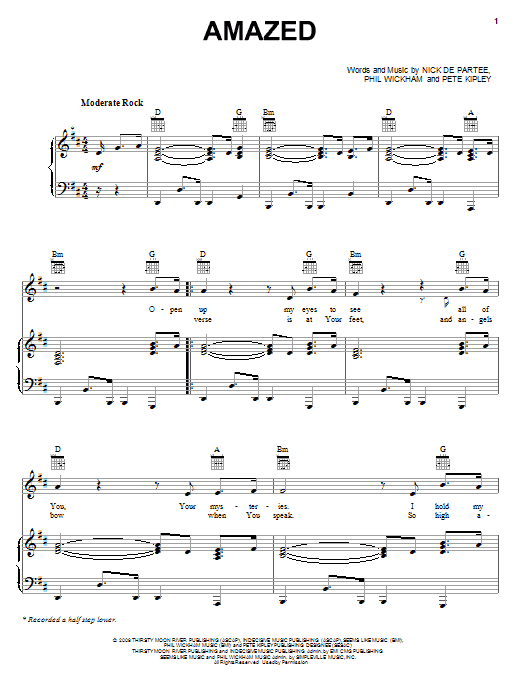 Kutless Amazed sheet music notes and chords
