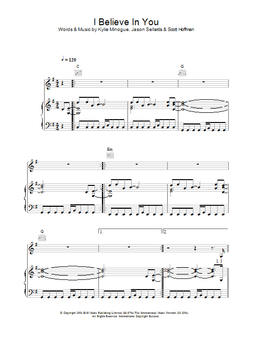 Kylie Minogue I Believe In You sheet music preview music notes and score for Piano, Vocal & Guitar including 6 page(s)