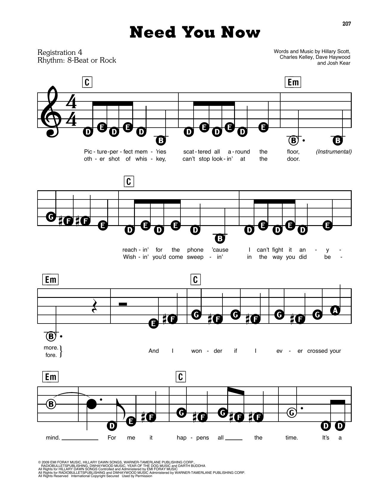 Lady Antebellum Need You Now sheet music preview music notes and score for E-Z Play Today including 3 page(s)