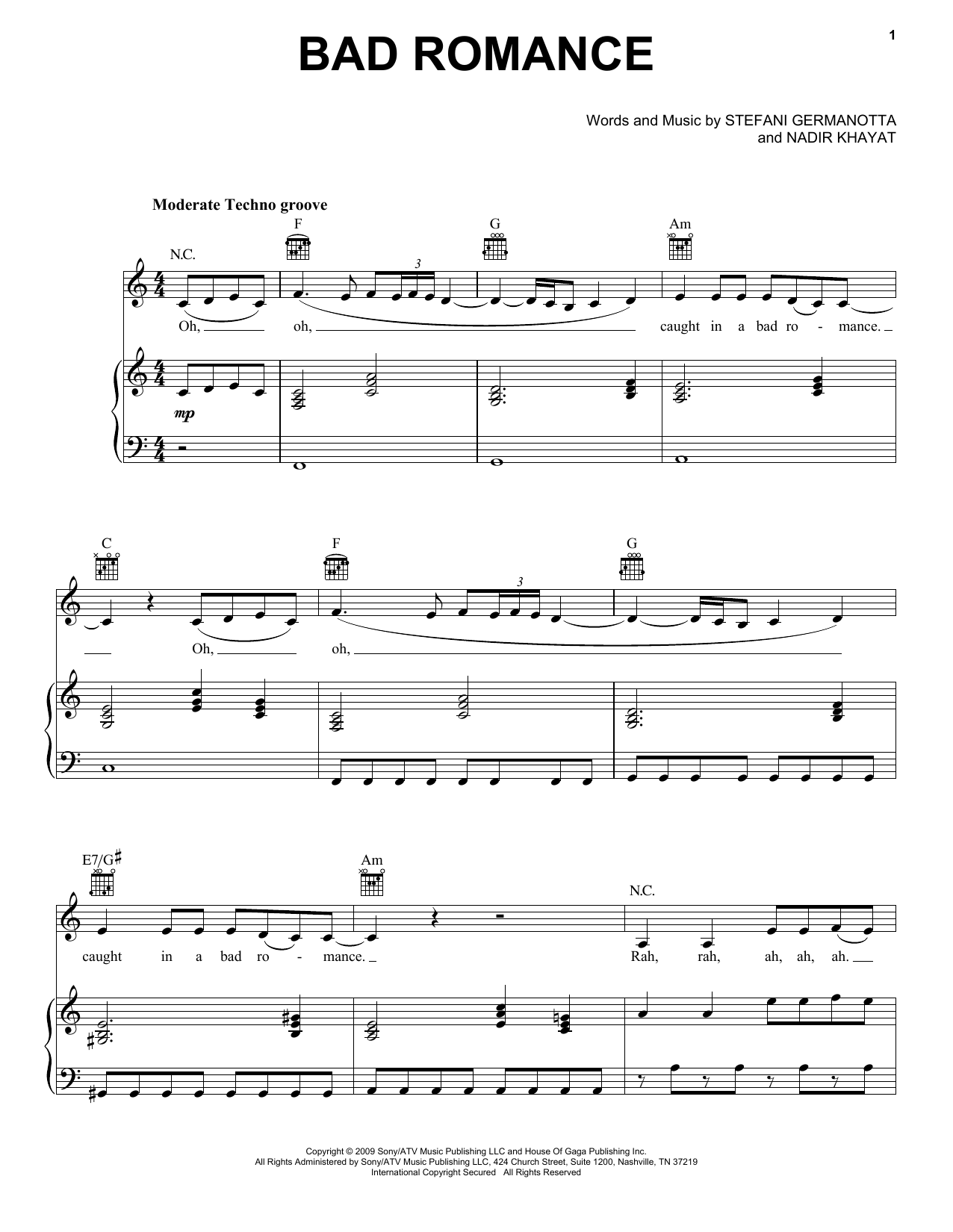 Download Lady GaGa 'Bad Romance' Digital Sheet Music Notes & Chords and start playing in minutes