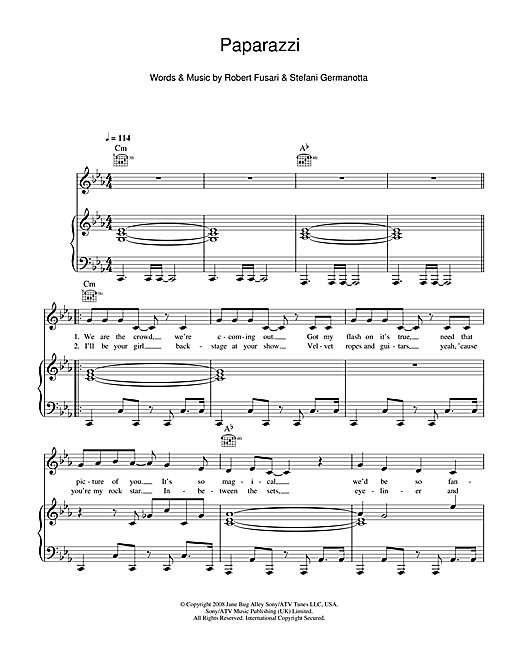 Download Lady GaGa 'Paparazzi' Digital Sheet Music Notes & Chords and start playing in minutes